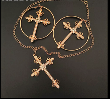 Load image into Gallery viewer, Gold Round Metal Crystals Cross Drop Earrings & Cross Necklace