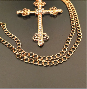Gold Round Metal Crystals Cross Drop Earrings & Cross Necklace