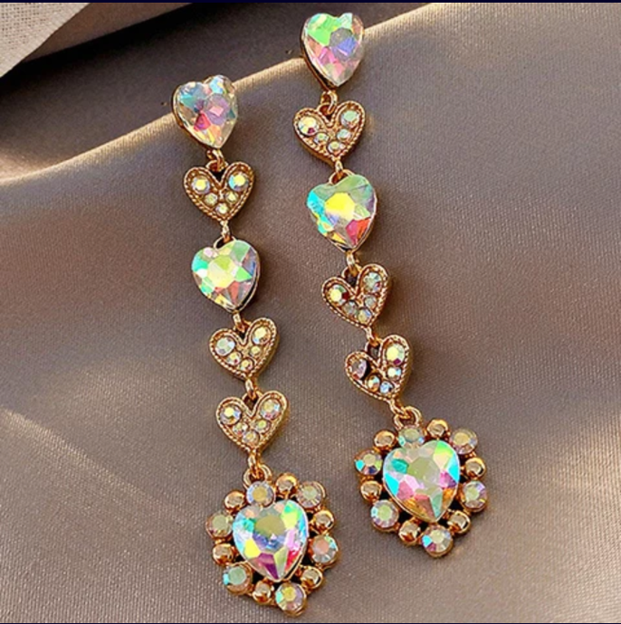Glitter Crystal Rhinestone Heart Fashion Earrings