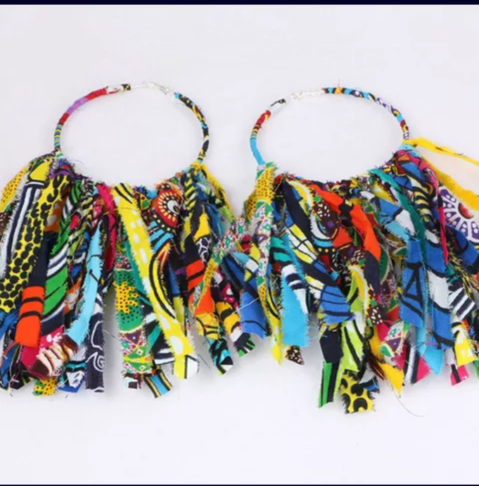 African Cloth Fabric Earrings