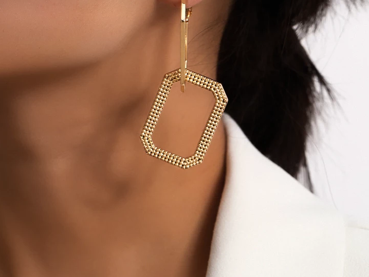 Lock Link Drop Earrings