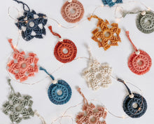Load image into Gallery viewer, Macrame Holiday Ornament Set