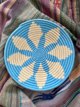 Load image into Gallery viewer, Sky Blue Lotus Moroccan Wool Basket Plate