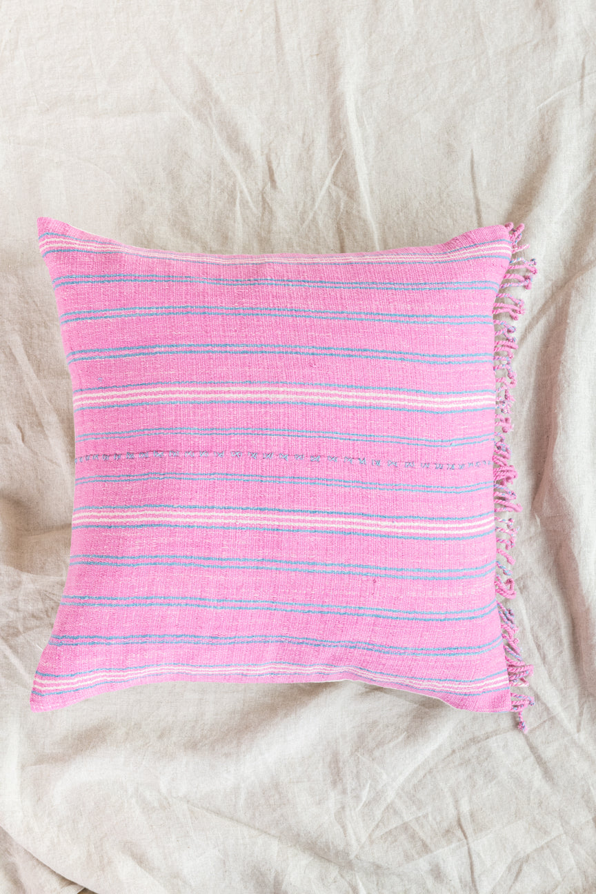 Pink + Blue Fringed Pillow Cover