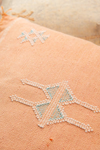 Green + Pink Fringed Pillow