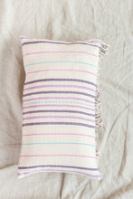 Load image into Gallery viewer, White + Pink Fringed Pillow