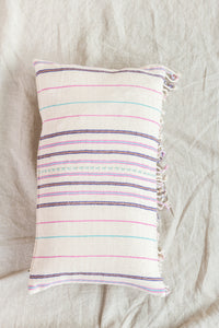 White + Pink Fringed Pillow