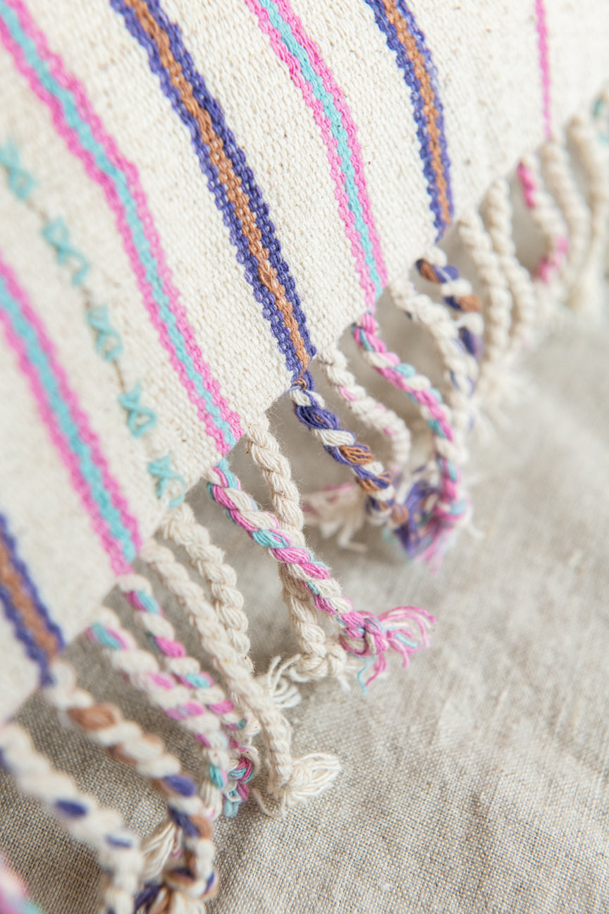 White + Pink Fringed Pillow Cover