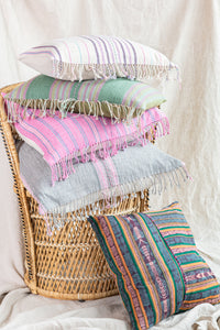 Blush + Emerald Ikat Pillow Cover