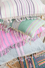 Load image into Gallery viewer, Pink + Blue Fringed Pillow Cover