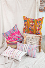 Load image into Gallery viewer, Pink + Blue Bright Stripe Mini Lumbar Pillow