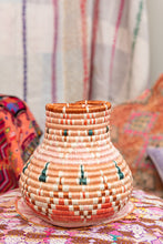 Load image into Gallery viewer, Handwoven Basket Vase Coral + Pink