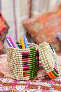 Handwoven Rainbow Lidded Basket