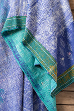 Load image into Gallery viewer, Kantha Quilt w/Tassels #81 Periwinkle + Pink + Gold