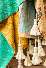 Load image into Gallery viewer, Kantha Quilt w/Tassels #84 Green + Gold