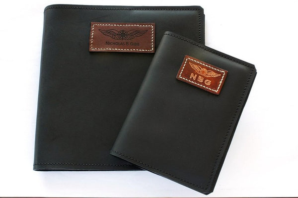 Sparrowhawk CASA (Australia) Licence Folder Cover - Black Aniline Leather - Embossed-Sparrowhawk-Downunder Pilot Shop Australia