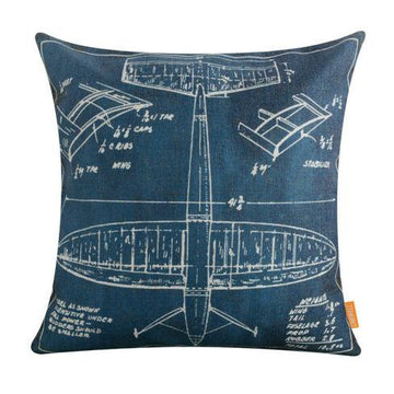 Vintage Blueprint Aircraft Cushion Cover