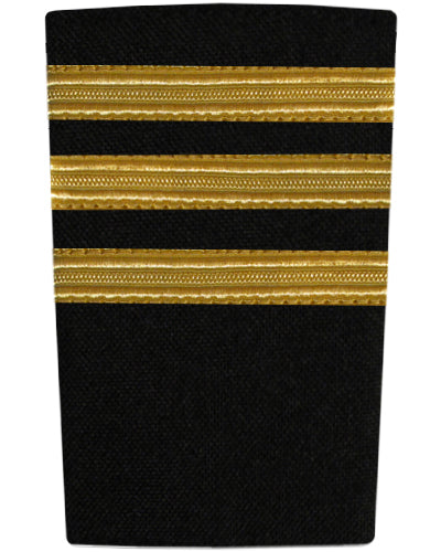 Epaulettes Three Bar Gold on Black-Downunder-Downunder Pilot Shop Australia