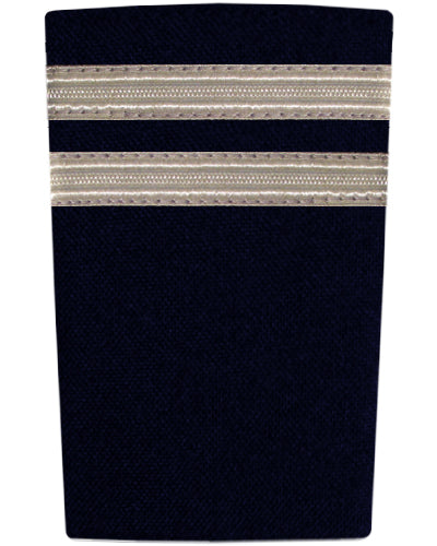 Epaulettes Two Bar Silver on Navy-Downunder-Downunder Pilot Shop Australia