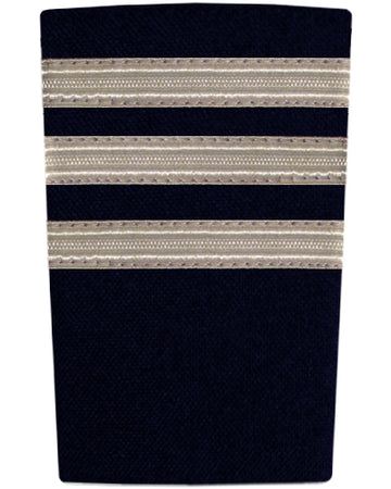 Epaulettes Three Bar Silver on Navy