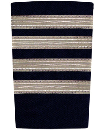 Epaulettes Four Bar Silver on Navy