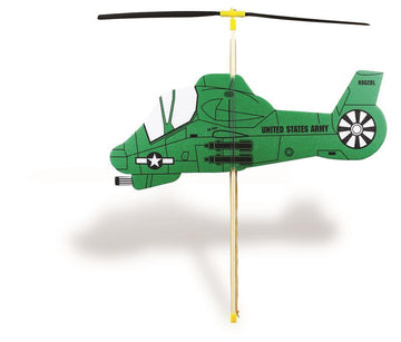 Rubber Band Powered Toy Helicopter - Military