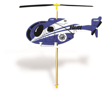Rubber Band Powered Toy Helicopter - Police