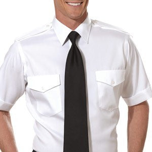 Mens Short Sleeve Pilot Dress Shirt White