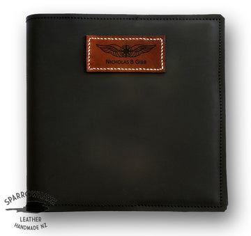 Sparrowhawk Pilot's Logbook Cover - Black Aniline Leather