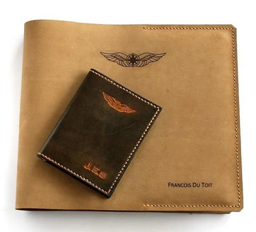 Sparrowhawk New Zealand CAA Logbook with Licence and Medical Certificate Wallet Combo - Nubuck and Hand Finished Leather