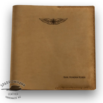 Sparrowhawk Pilot's Logbook Cover - Nubuck Leather - Laser Engraved