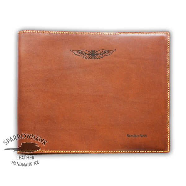 Sparrowhawk Pilot's Logbook Cover - Brown Aniline Leather-Sparrowhawk-SPWALC-Downunder Pilot Shop Australia