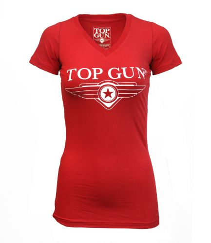 Top Gun Women's Logo T-Shirt - Red T-Shirts Top Gun TGL1952R-L Downunder Pilot Shop Australia