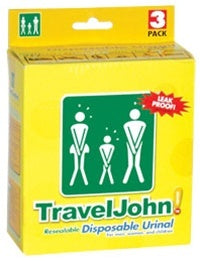 TravelJohn ResealableDisposable Urinal 3 Pack