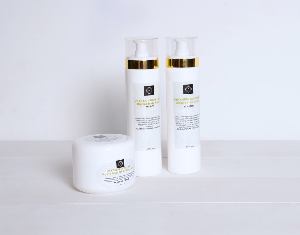 THREE STEP SKIN CARE SYSTEM - Nourishing Wash, Scrub and Lotion - Fragrance Free- for MEN - Onyx Skin Care Line