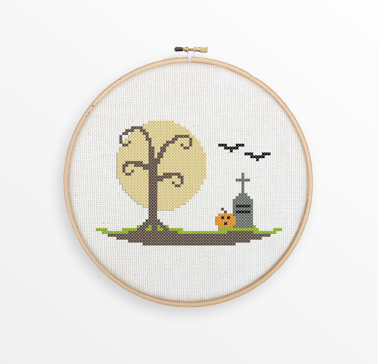 Halloween Scene Cross Stitch Pattern