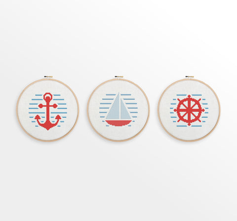 Nautical Cross Stitch Pattern Set - Anchor, Sailboat, Ship Wheel