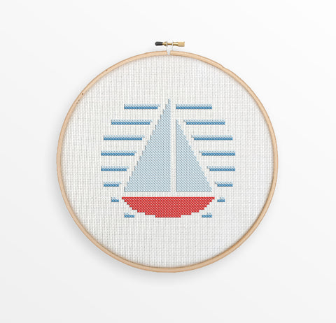 Sailboat - Nautical Cross Stitch Pattern