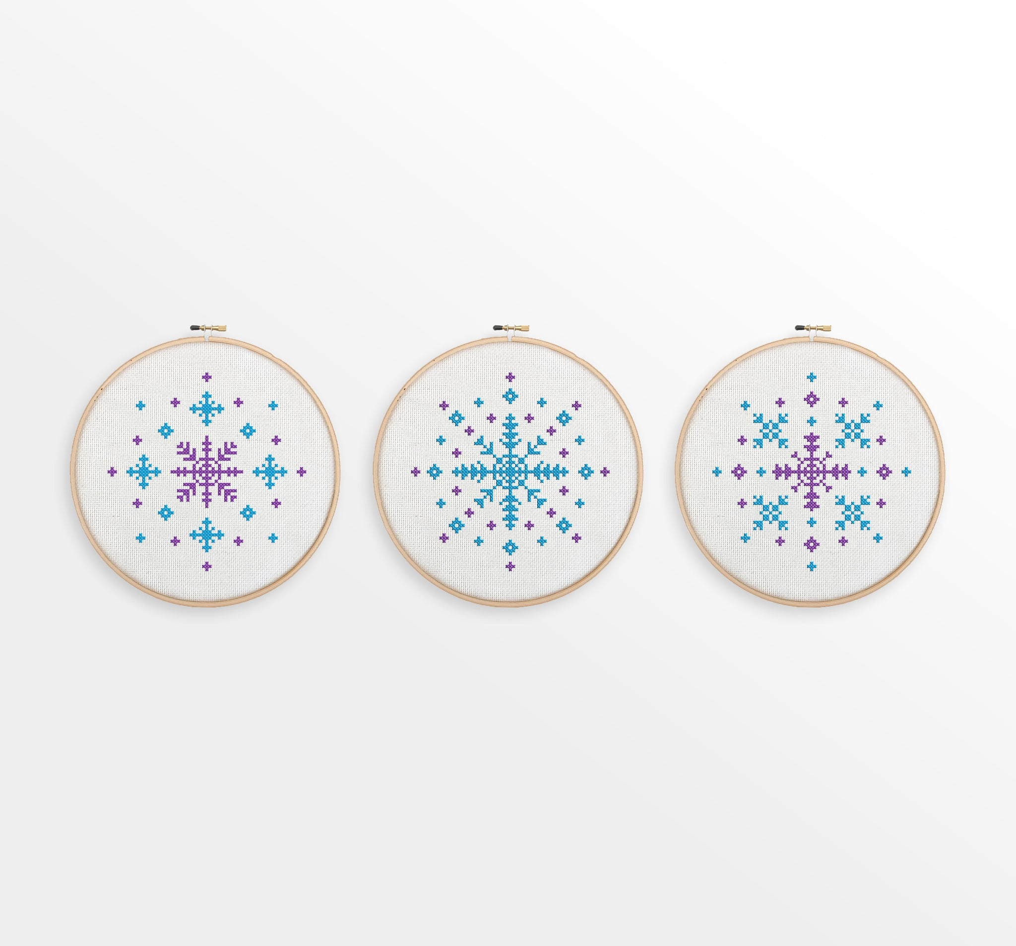 The Snowflake Collection - Set of 3 Snowflake Cross Stitch Patterns