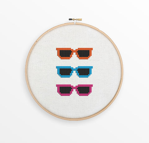 Hipster Sunglasses Cross Stitch Pattern