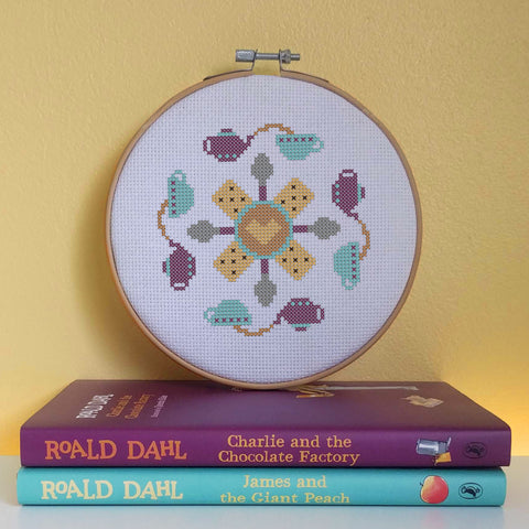 Tea Party Mandala Cross Stitch Pattern
