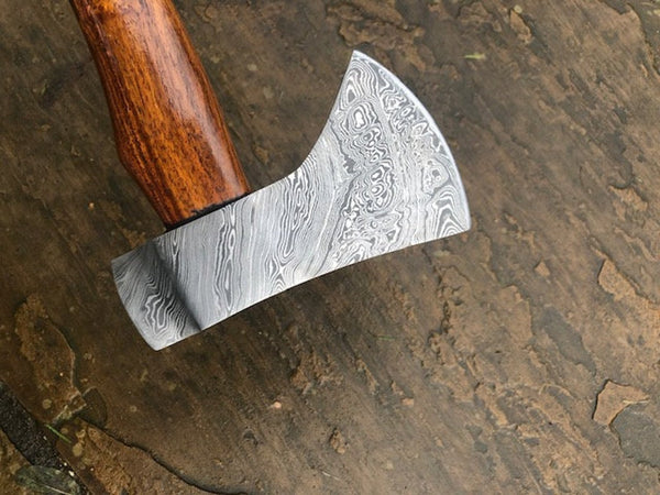 Custom made, hand forged 'Woodlander' Damascus Axe - with Walnut handle