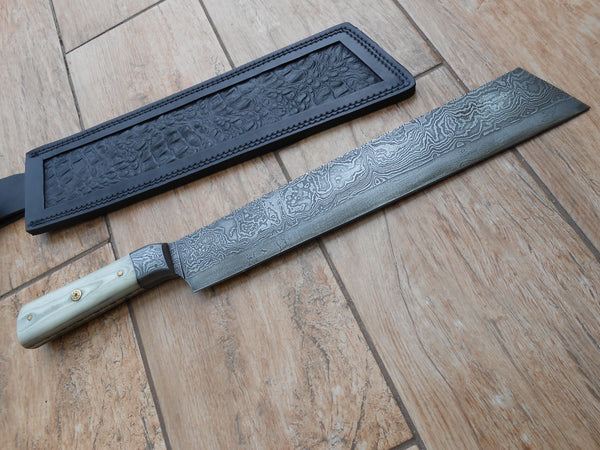 Damascus Machete - Micarta handle - stunning weighty piece