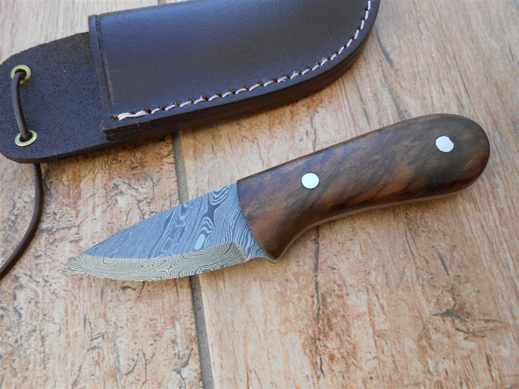sale now on hand crafted damascus neck knife walnut burl handle blue mountain forge. Black Bedroom Furniture Sets. Home Design Ideas