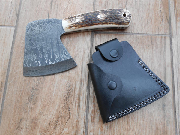Sale! Beautiful Hatchet - Damascus Steel with Stag Antler - Perfect for Hunting, Camping and bushcraft! Bargain!