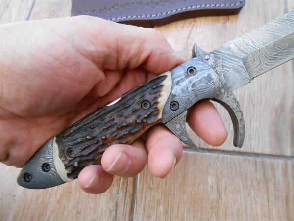 Awesome Folding Bowie Knife/sub-hilt Fighter - Damascus and Stag antler. NOW YOU SEE It! NOW YOU Don't!