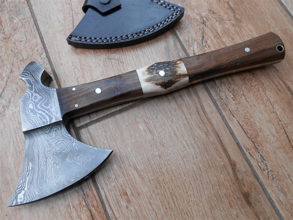 Tomahawk style Camping and Bushcraft Axe - hand forged Damascus steel - Stag antler walnut handle.