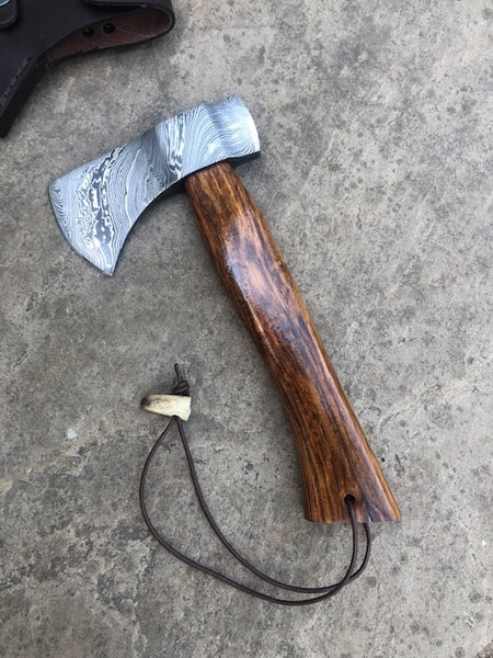 Custom made, hand forged Bushcraft Damascus Axe - with Walnut handle