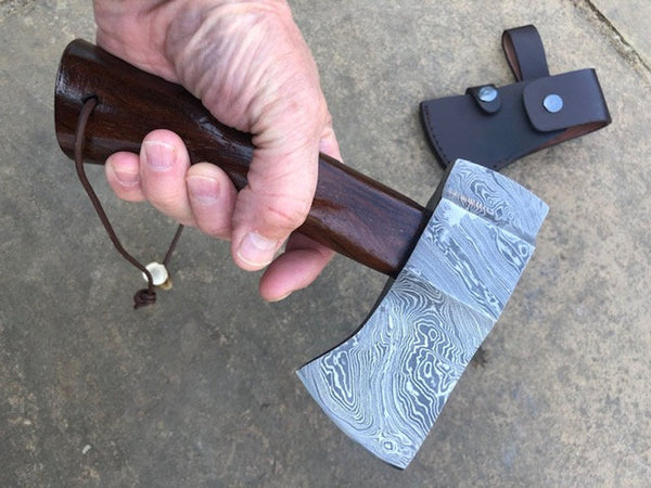 Custom made, hand forged Damascus Axe / hatchet - with Walnut handle