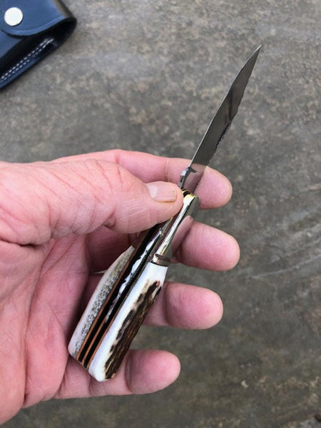 Craftsman made folding Knife with Stag Antler handles and high polished 01 carbon tool steel blade - fancy hand worked filework